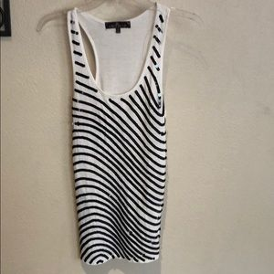 White/black sequin tank top size S almost famous